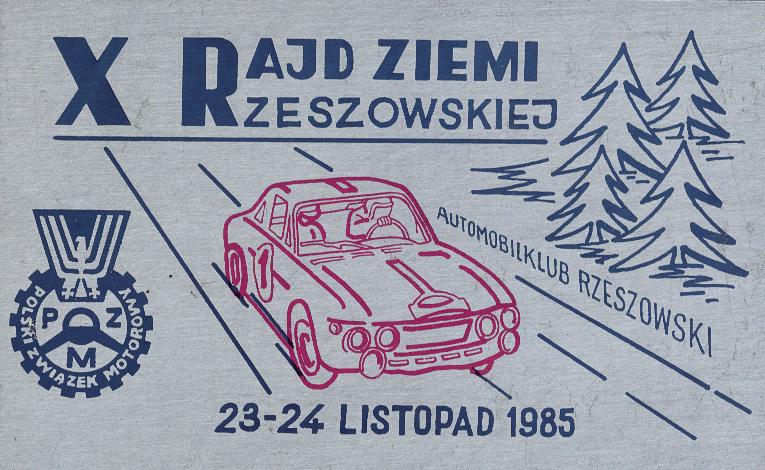 1985 rok X Rajd Ziemi Rzeszowskiej, plakietka